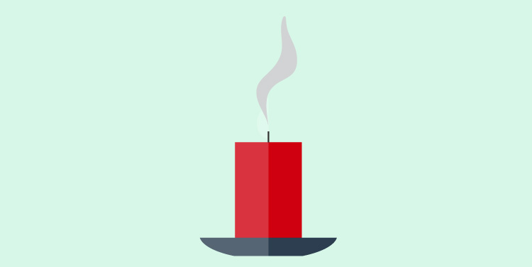 Blown out candle, a common symbol for death.